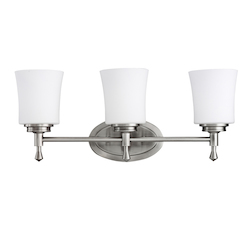 Kichler Brushed Nickel Wharton 22In. Wide 3-Bulb Bathroom Lighting Fixture