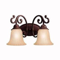 Kichler Carre Bronze Wilton 16In. Wide 2-Bulb Bathroom Lighting Fixture