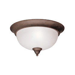 Kichler Two Light Tannery Bronze Bowl Flush Mount