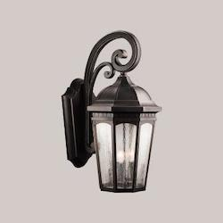 Kichler Rubbed Bronze Courtyard Collection 3 Light 27In. Outdoor Wall Light