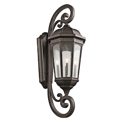 Kichler Rubbed Bronze Courtyard Collection 4 Light 47In. Outdoor Wall Light