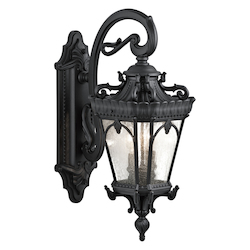 Kichler Black Tournai 2 Light 24In. Wide Outdoor Wall Sconce With Seedy Glass Panels