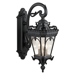 Kichler Black Tournai 3 Light 29In. Wide Outdoor Wall Sconce With Seedy Glass Shades