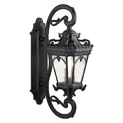 Kichler Black Tournai 4 Light 38In. Wide Outdoor Wall Sconce With Seedy Glass Panels