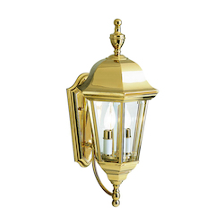 Kichler Polished Brass Lifetime Finish Grove Mill 2 Light 20In. Outdoor Wall Light