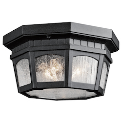 Kichler Black Weatherly 3 Light Outdoor Flush Mount Ceiling Fixture