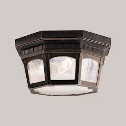 Kichler Three Light Rubbed Bronze Outdoor Flush Mount