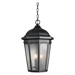 Kichler Black Courtyard 3 Light Outdoor Pendant