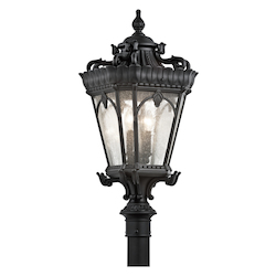 Kichler Black Tournai 30In.Tall 4 Light Outdoor Post Light With Seedy Glass Panels