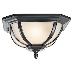 Kichler Two Light Black (Painted) Outdoor Flush Mount