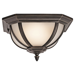 Kichler Two Light Rubbed Bronze Outdoor Flush Mount