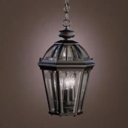 Kichler Kichler 9851Bk Black 3 Light Outdoor Pendant From The Trenton Collection
