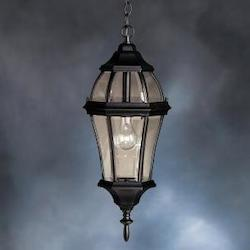 Kichler Black 1 Light Outdoor Pendant From The Townhouse Collection