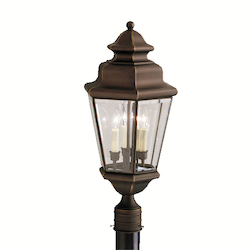 Kichler Olde Bronze 3 Light Post Light From The Savannah Estates Collection
