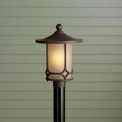 Kichler Kichler 9975Agz Aged Bronze 1 Light Post Light From The Chicago Collection