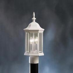 Kichler Three Light White Post Light