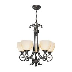 Lite Source Inc. Dark Bronze 5 Light Chandelier With Dark Bronze Glass Shade