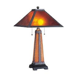 Lite Source Inc. Coffee 2 Light Table Lamp With Mica Shade From The Micah Collection
