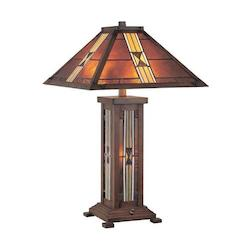 Lite Source Inc. Bronze 1 Light Table Lamp With Tiffany Shade & Night Light