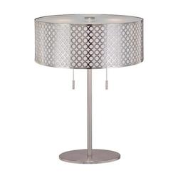 Lite Source Inc. Steel 2 Light Table Lamp With Net Metal Shade With