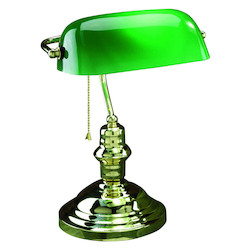 Lite Source Inc. Open Box 1 Light Bankers Lamp With Green Glass Shade