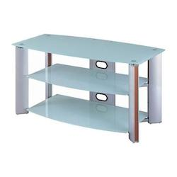 Lite Source Inc. Aluminum 3 Tier Tv Stand Aluminum White Glass