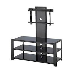 Lite Source Inc. Black 3 Tier Tv Stand Black Black Glass From The Burly Collection