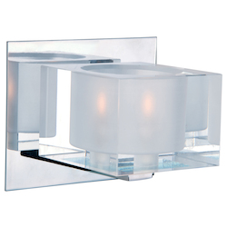 Maxim One Light Polished Chrome Clear Glass Bathroom Sconce