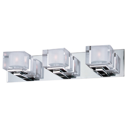 Maxim Three Light Polished Chrome Clear Glass Vanity