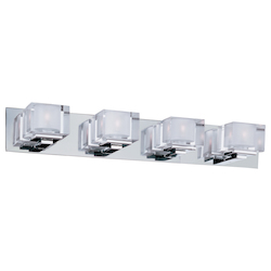 Maxim Four Light Polished Chrome Clear Glass Vanity