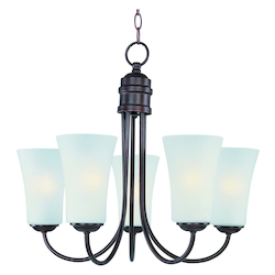 Maxim Oil Rubbed Bronze Frosted Glass Up Chandelier