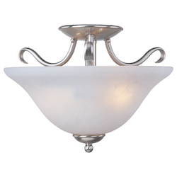 Maxim Two Light Satin Nickel Ice Glass Bowl Semi-Flush Mount