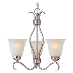 Maxim Three Light Satin Nickel Ice Glass Up Mini Chandelier