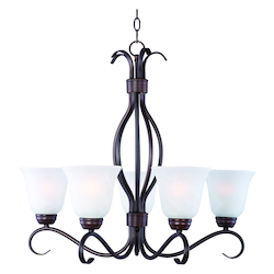 Maxim Five Light Oil Rubbed Bronze Ice Glass Up Chandelier