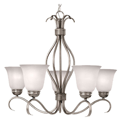 Maxim Five Light Satin Nickel Ice Glass Up Chandelier