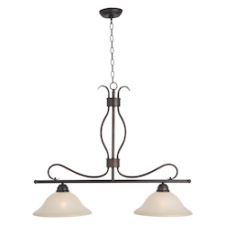 Maxim Two Light Oil Rubbed Bronze Wilshire Glass Island Light