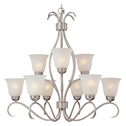 Maxim Nine Light Satin Nickel Ice Glass Up Chandelier