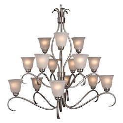 Maxim Fifteen Light Satin Nickel Ice Glass Up Chandelier