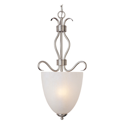 Maxim Two Light Satin Nickel Ice Glass Foyer Hall Pendant