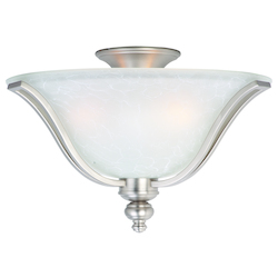Maxim Three Light Ice Glass Satin Silver Bowl Flush Mount