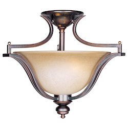 Maxim Three Light Oil Rubbed Bronze Wilshire Glass Bowl Semi-Flush Mount