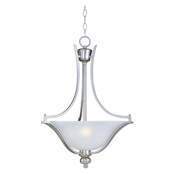 Maxim Three Light Ice Glass Satin Silver Up Pendant