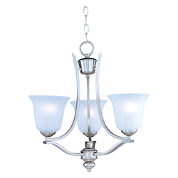 Maxim Three Light Ice Glass Satin Silver Up Mini Chandelier