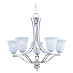 Maxim Five Light Ice Glass Satin Silver Up Chandelier