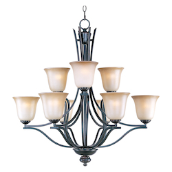 Maxim Nine Light Oil Rubbed Bronze Wilshire Glass Up Chandelier