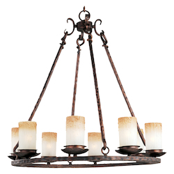 Maxim Eight Light Oil Rubbed Bronze Wilshire Glass Candle Chandelier