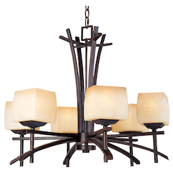Maxim Six Light Wilshire Glass Roasted Chestnut Up Chandelier