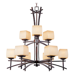 Maxim Nine Light Wilshire Glass Roasted Chestnut Up Chandelier