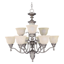 Maxim Nine Light Satin Nickel Soft Vanilla Glass Up Chandelier