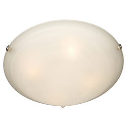 Maxim Four Light Satin Nickel Marble Glass Bowl Flush Mount